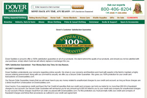 Dover Saddlery Customer Satisfaction Guarantee